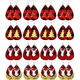 FUNEIA 16-20 Pairs Christmas Earrings for Women Handmade Lightweight Teardrop Drop Dangle Faux Leather Earring Set