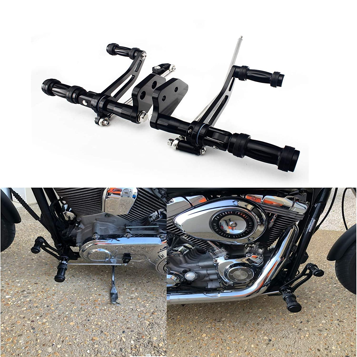 Linkage for Harley Davidson Dyna Street Bob Lower Rider Super Glide TARAZON CNC Forward Controls Kit Footpegs Levers