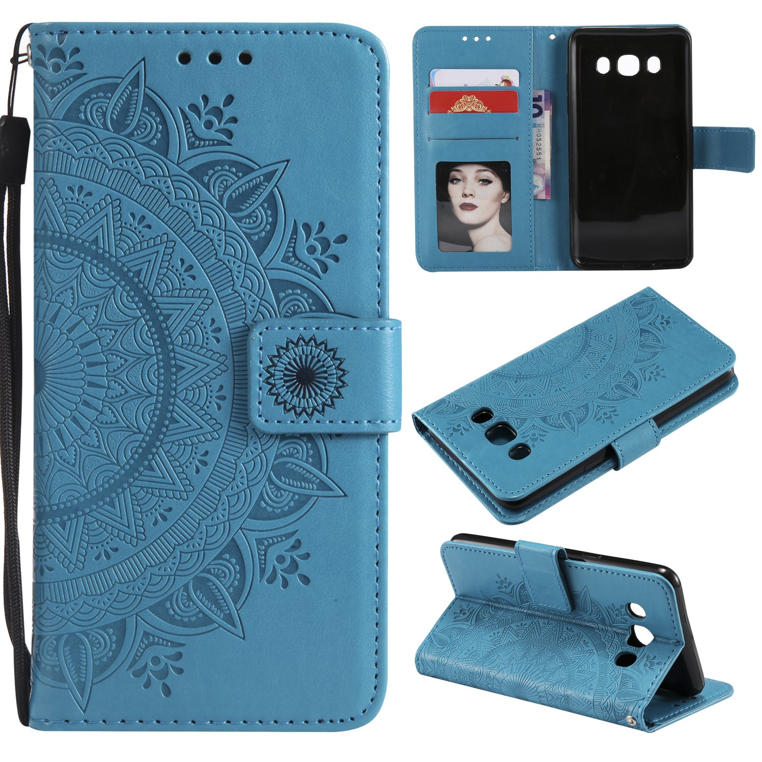 Galaxy J7 2016 Floral Wallet Case,Galaxy J7 2016 Strap Flip Case,Leecase Embossed Totem Flower Design Pu Leather Bookstyle Stand Flip Case for Samsung Galaxy J7 2016-Blue