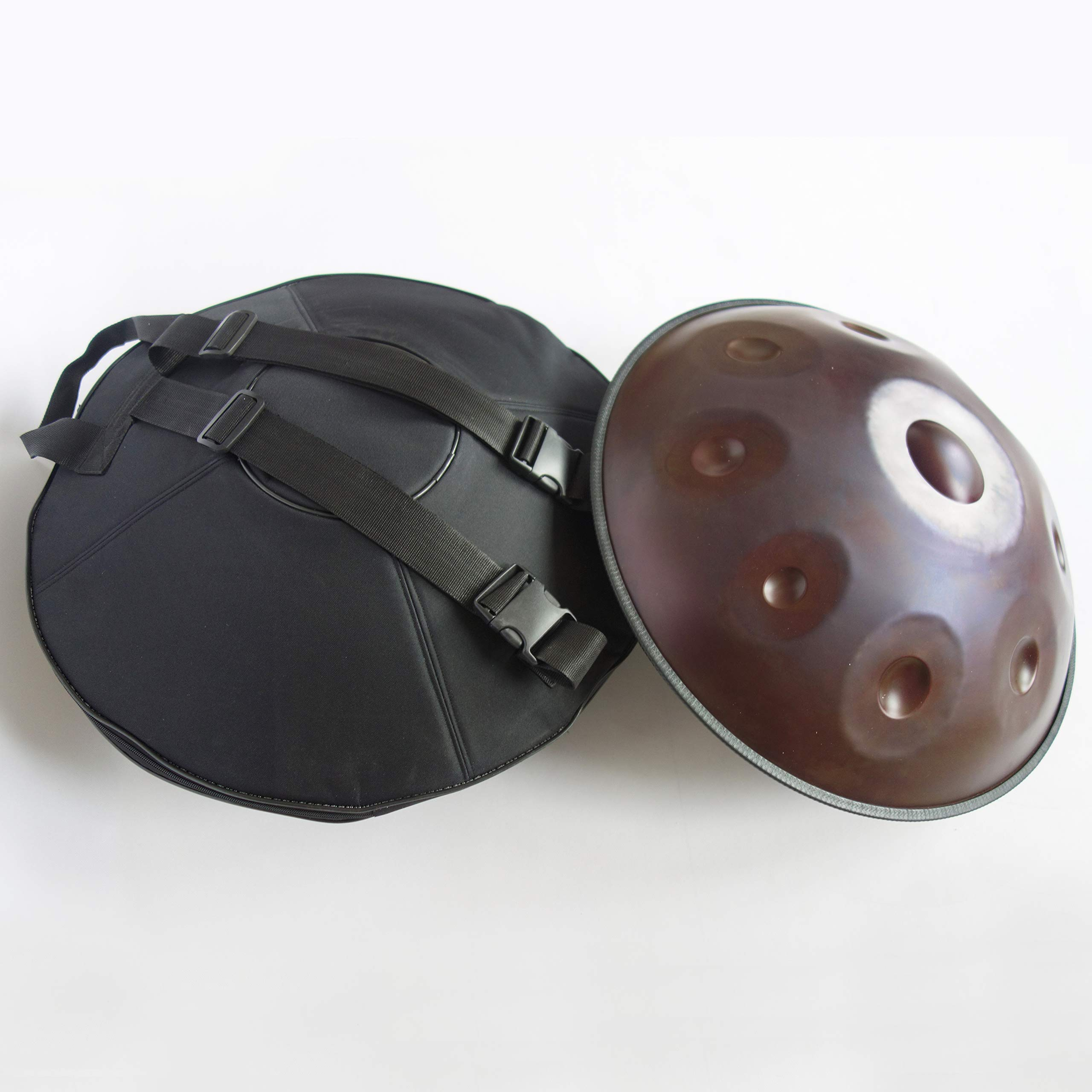 CVNC Harmonic Handpan Brown Color 9 Note Steel Tongue Percussion Drum 21.65 Inch(55cm) Hand Drum Hand Pan Hanging Bag by CVNC (Image #6)