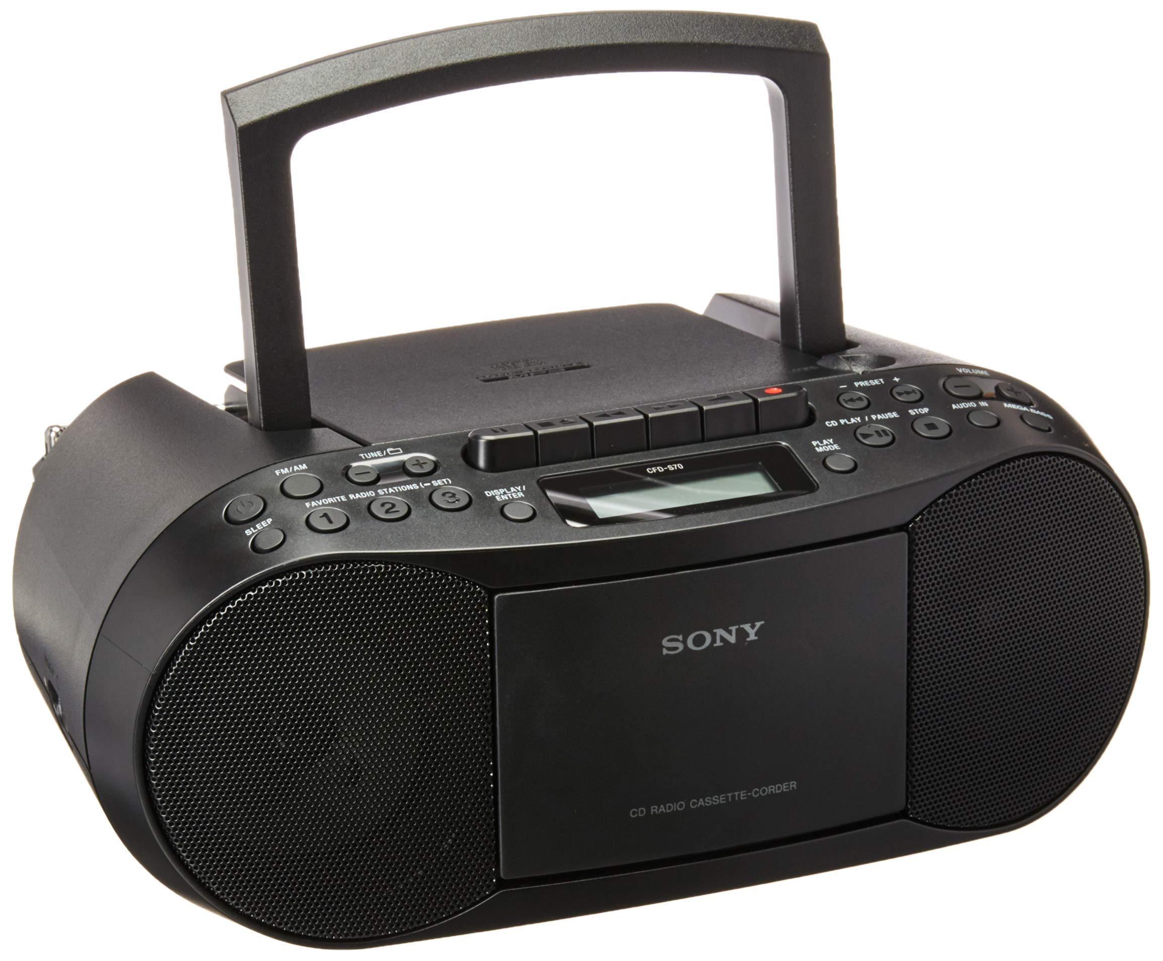 Sony CFDS70-BLK CD/MP3 Cassette Boombox Home Audio Radio, Black, with Aux Cable (Renewed) by Sony (Image #1)