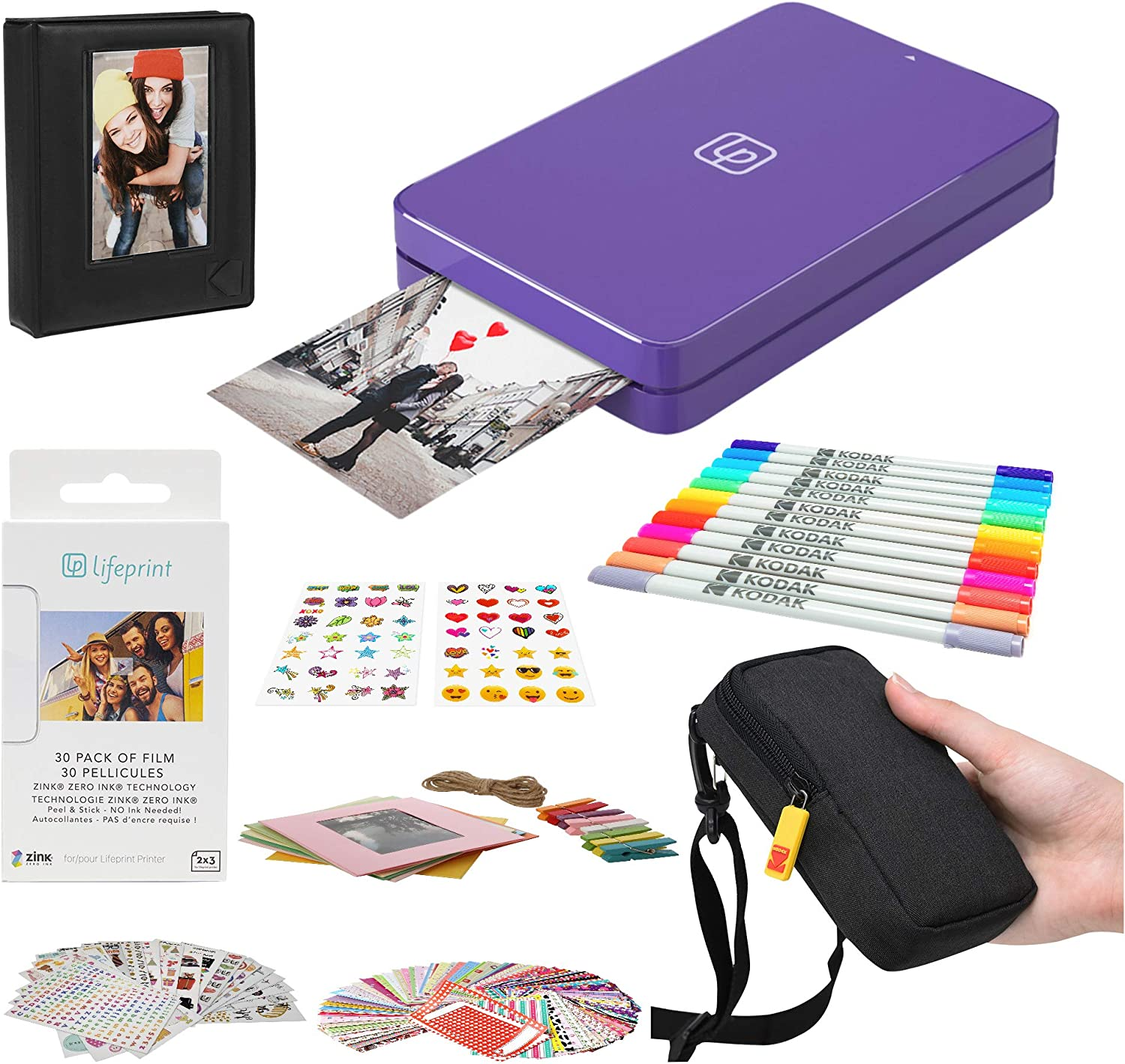 Lifeprint 2x3 Portable Photo and Video Printer (Purple) Stickers Bundle