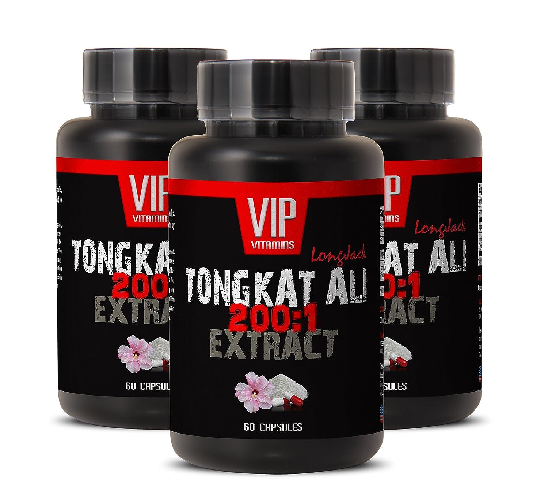 Longjack 400mg - Tongkat Ali 200: 1 Premium Extract - Natural Testosterone  Booster (3 Bottles 180