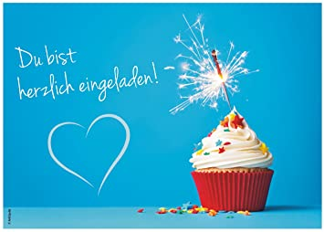 12 Einladungskarten U0026quot;Muffin Cupcakeu0026quot; Geburtstag Kindergeburtstag  Wunderkerze, Glitzer, Glitter, Herz