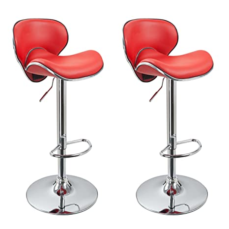 Superb Duhome 2 Pcs Synthetic Leather Saddle Seat Adjustable Swivel Bar Stool Kitchen Counter Height Chairs Red Gmtry Best Dining Table And Chair Ideas Images Gmtryco