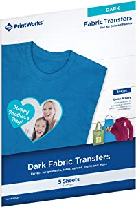 "Printworks Dark T-Shirt Transfers, Perfect for DIY Christmas Presents and Crafts, For Use on Dark and White/Light Fabrics, Photo Quality, For Inkjet Printers, 5 Sheets, 8 ½"" x 11"" (00529)"
