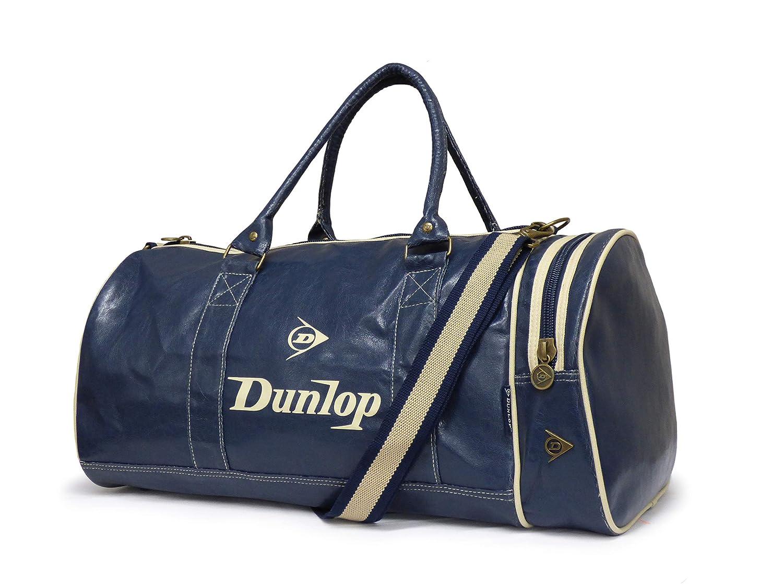 Regreso a la escuela Dunlop Navy Blue Retro mirada de cuero apenada Holdall bolsa de gimnasio de hombro con el ajuste de Ecru (Navy)