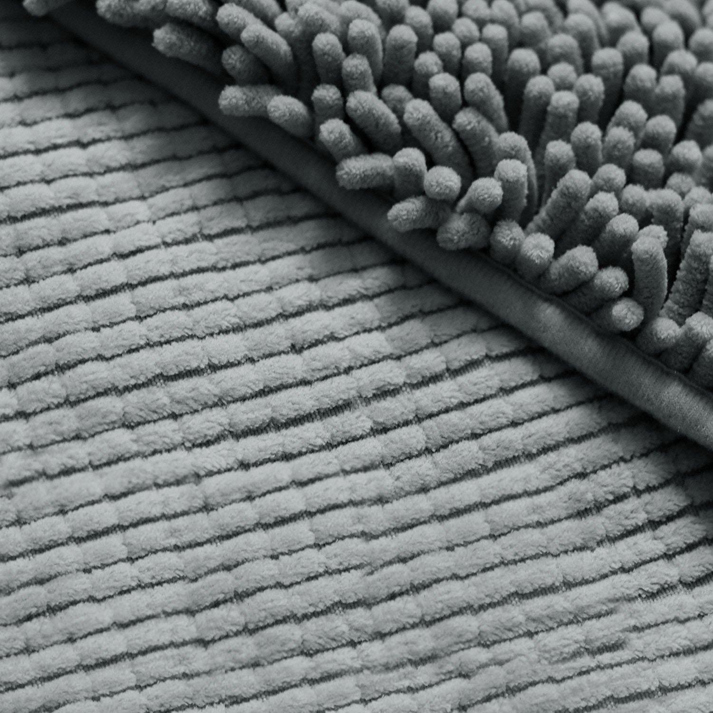 Suave Chenilla Microfibra Dormitorio SKL Tapetes de Ba/ño Gris, 60*40cm Balc/ón Habitaci/ón Alfombra de Ducha Antideslizante Para El Ba/ño
