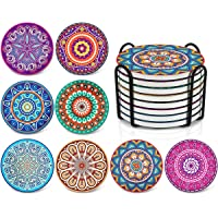 Darate Absorbent Coasters with Holder Set of 8, Coasters for Drinks, Unique Housewarming Gift, 4 Inch Round Coaster for…