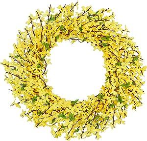 TINGOR 16'' Artificial Forsythia Flower Wreath, Yellow Flower Front Door Wreath Winter Jasmine Outdoor Wreath for Wedding Home Wall Decor