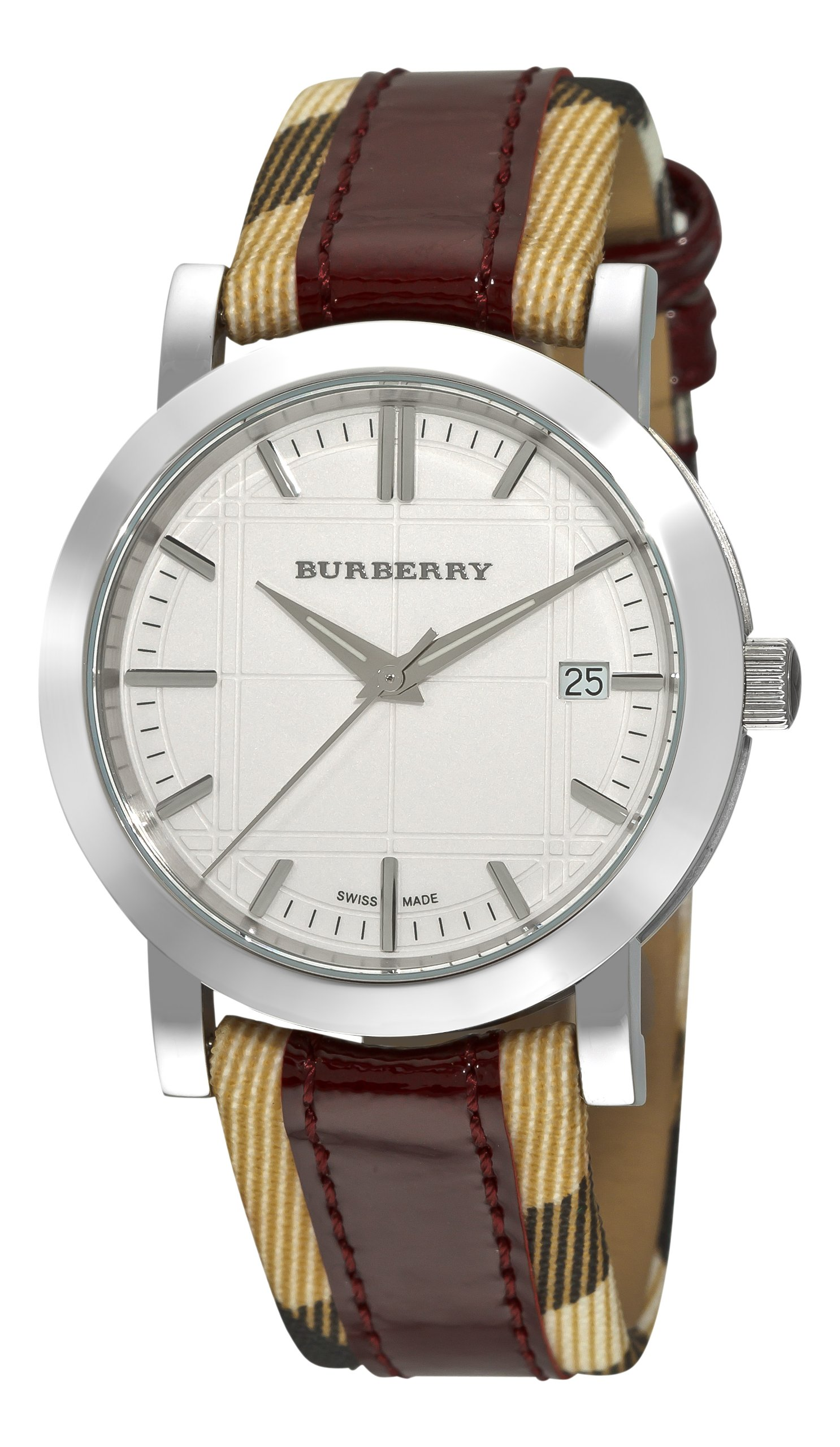 Burberry Women's BU1389 Nova Check Checked with Red Leather Strap Watch