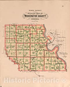 Historic 1908 Map - Plat Book of Washington County, Nebraska - Washington County, School District 44in x 55in