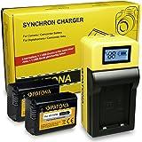 LCD Caricabatteria + 2x Batteria NP-FW50 per Sony CyberShot DSC-RX10 II | ILCE-6000 (?6000) | ILCE-QX1 | Sony NEX-C3 | NEX-F3 | NEX-3 | NEX-3A | NEX-3D | NEX-3K | NEX-3N | NEX-5A | NEX-5D | NEX-5H
