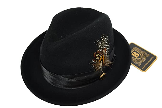 5f314f167cf Bruno Capelo Men s Crushable Solid Black 100% Wool Felt Fedora Hat ...