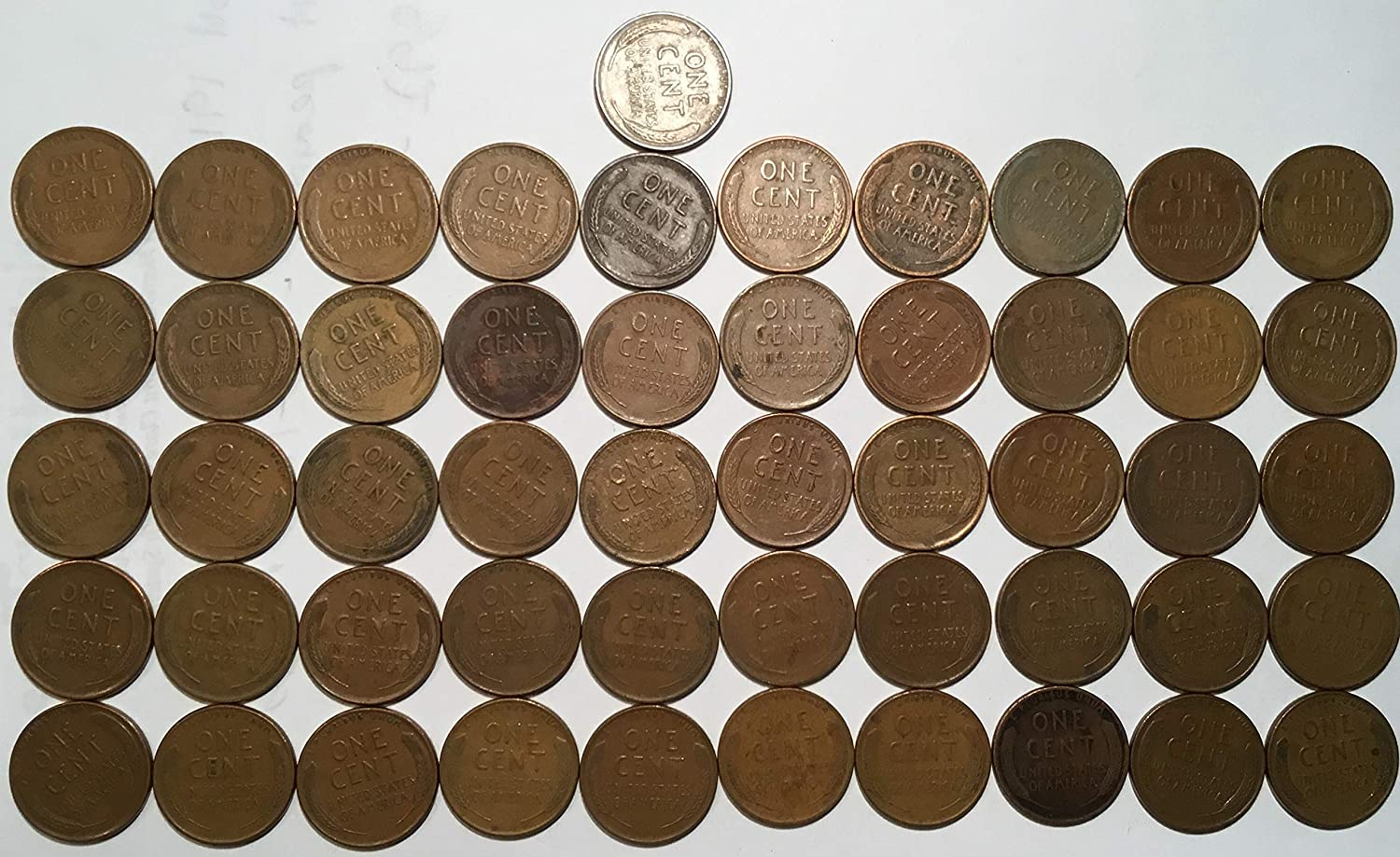 1945 Lincoln Wheat Cent Penny Roll 50 Coins Choice Fine at Amazon's