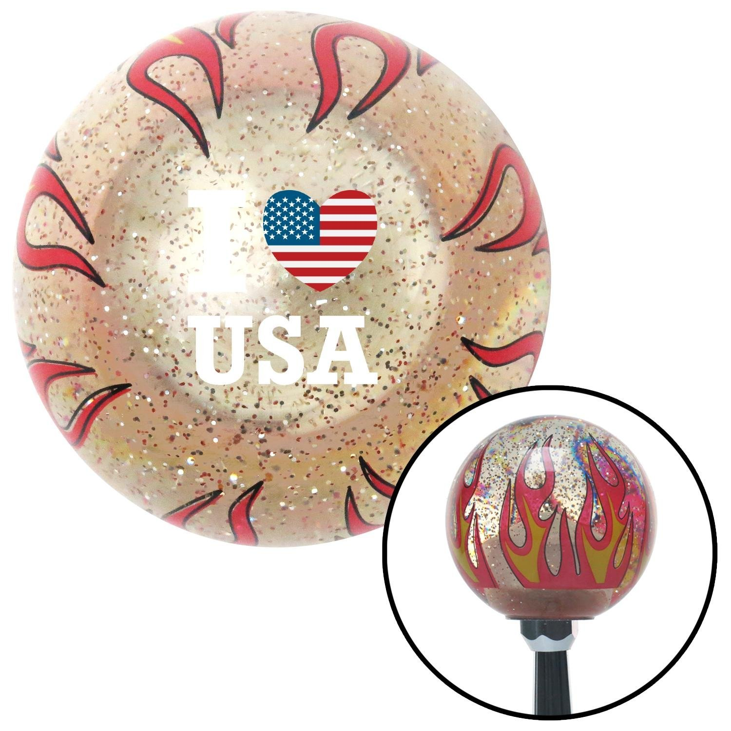 American Shifter 296390 Shift Knob I Heart USA White Clear Flame Metal Flake with M16 x 1.5 Insert