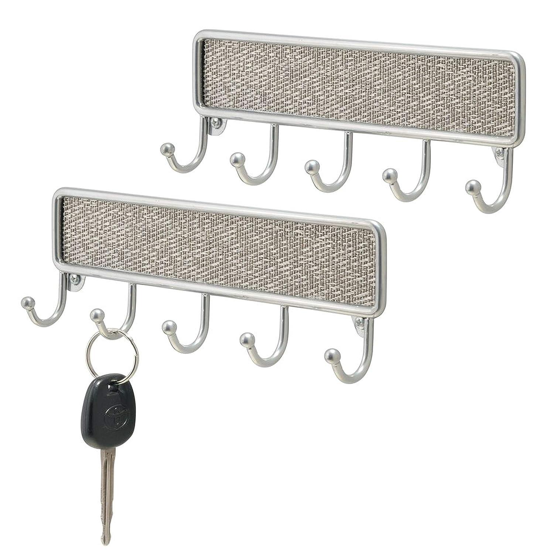 Ganchos para el ba/ño InterDesign Twillo Ganchos para Colgar Llaves Porta Llaves de Pared peque/ño con 5 Ganchos de Metal y pl/ástico Plateado