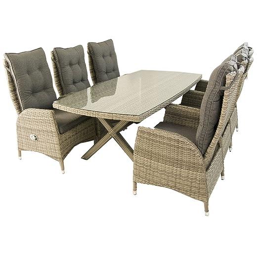 Edenjardi Conjunto Muebles Exterior, Mesa 200x100 cm y 6 sillones reclinables, Aluminio y rattán sintético Plano Color Gris, 6 plazas, Cristal ...