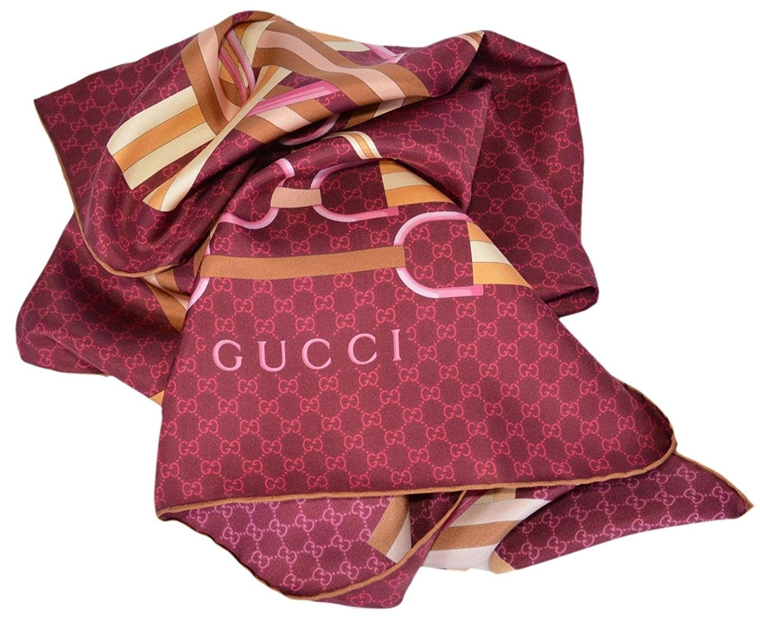 Gucci Horsebit Web Belts GG Guccissima Silk Twill Neck Scarf (Bordeaux)