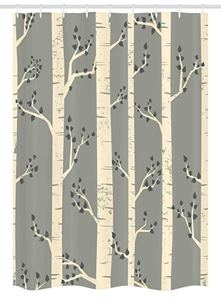 Ambesonne Grey Stall Shower Curtain Birch Tree Branches Vintage Bohemian Contemporary Illustration Of Nature