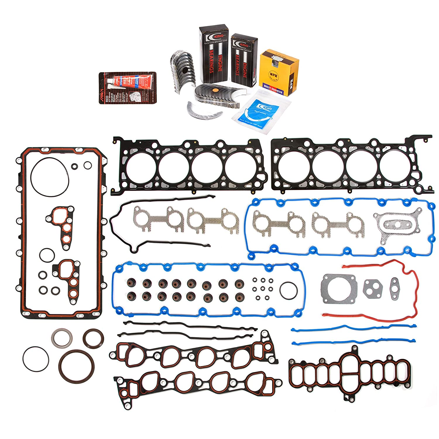 Evergreen Engine Rering Kit FSBRR8-21203\0\0\0 97-99 Ford E150 E250 F150 F250 4.6 SOHC WINDSOR Full Gasket Set, Standard Size Main Rod Bearings, Standard Size Piston Rings Evergreen Parts And Components