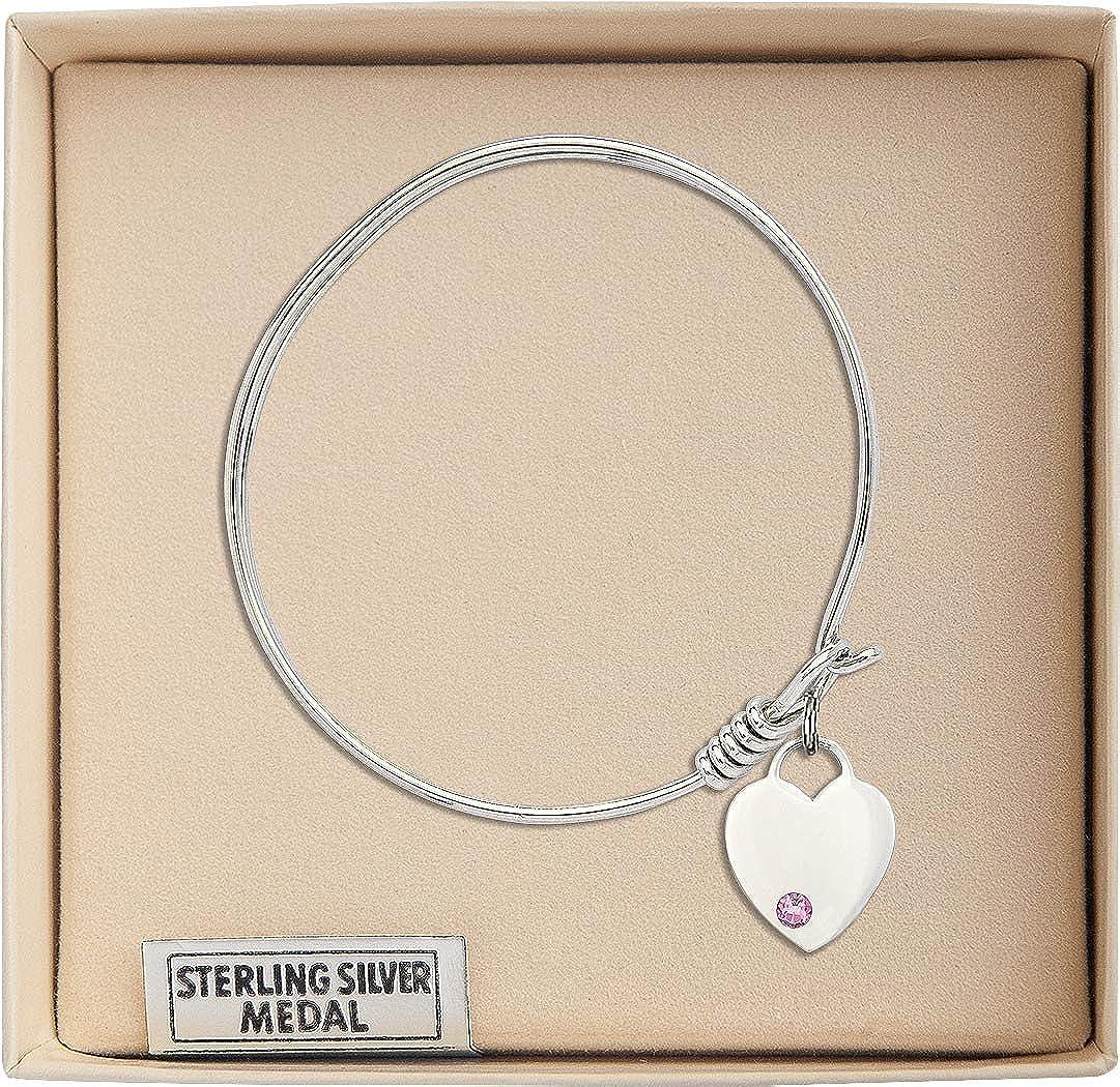Heart Charm On A 6 1//4 Inch Round Eye Hook Bangle Bracelet