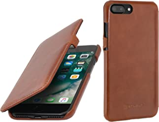 "StilGut Book Type Case con Clip, Custodia in Pelle Cover per iPhone 7 Plus & iPhone 8 Plus (5,5"") Chiusura a Libro Flip-Case in Vera Pelle, Cognac"