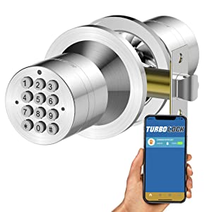 TurboLock TL-99 Bluetooth Smart Lock for Keyless Entry & Live Monitoring – Send & Delete eKeys w/App on Demand (Silver)