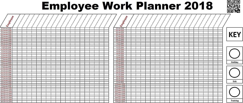 2018 Staff Employee 365 Day Holiday Work Planner Chart A1 Jan Dec 2018