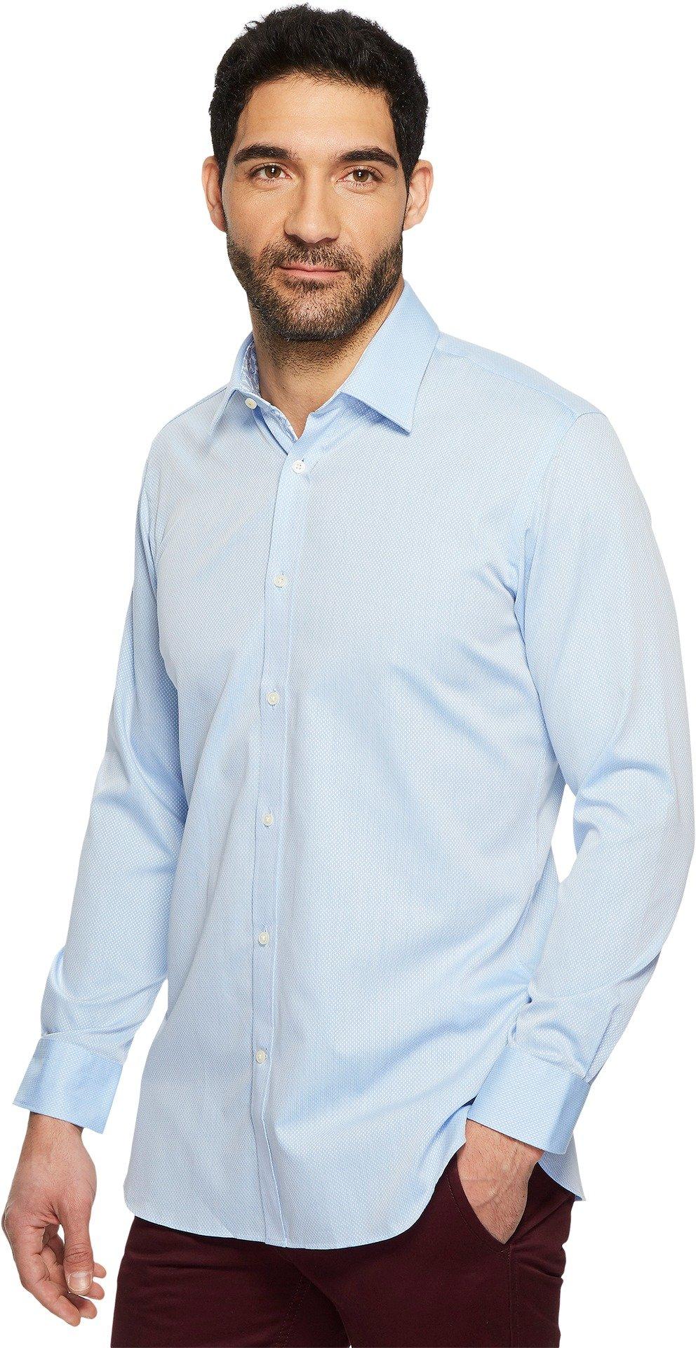 Ted Baker Men's oaker Textured Solid Dress Shirt Blue 17.5-34/35 by Ted Baker (Image #2)