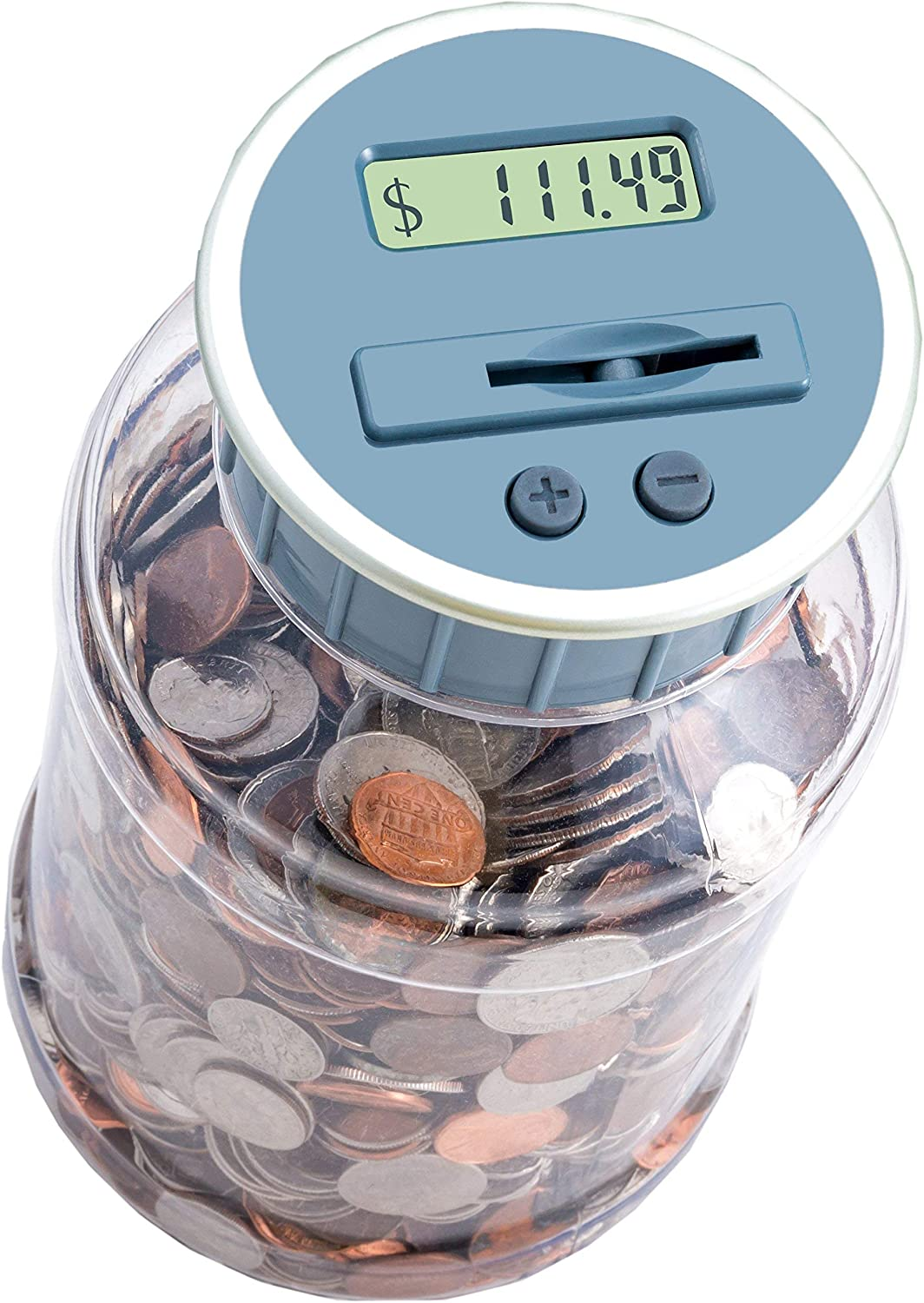 M&R Digital Counting Coin Bank. Batteries Included! Personal Coin Counter/Money Counting jar, totals up Your Savings- Works with All U.S. Coins-in Retail Packaging.