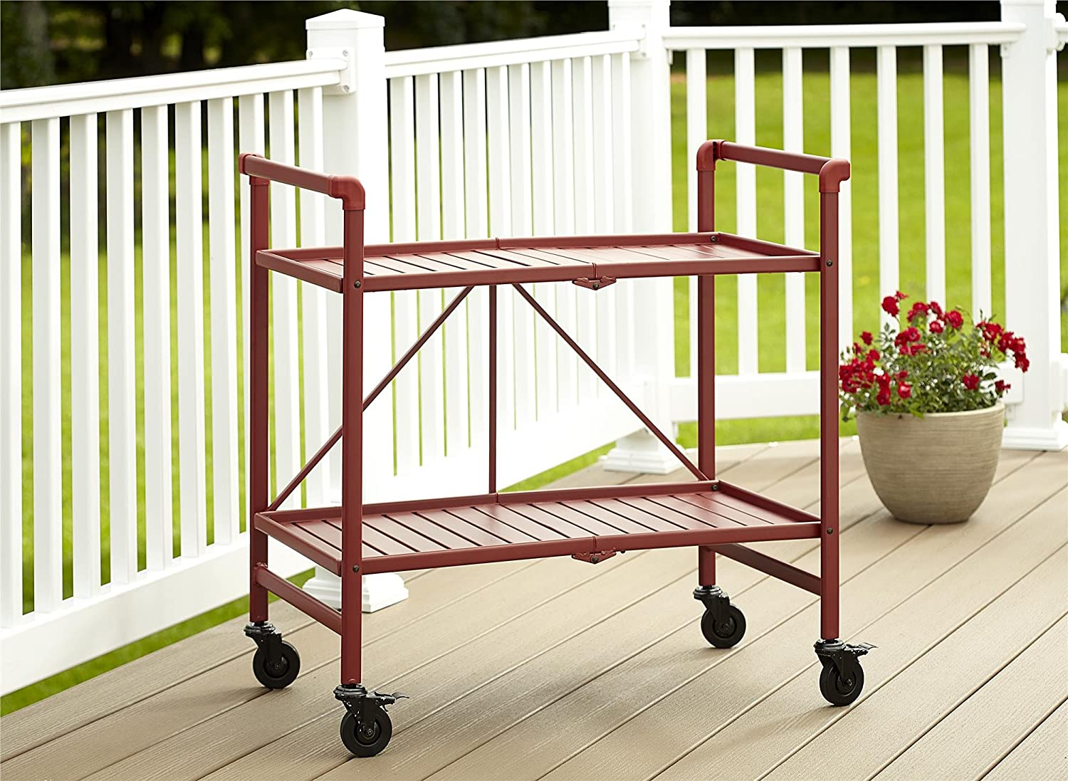 Cosco Indoor/Outdoor Serving Cart, Folding, Ruby Red 81g2KDLqyIL