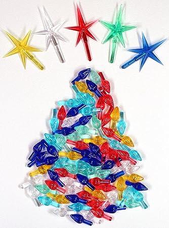 Amazon.com: Ceramic Christmas Tree 100 Medium Twist Lights & 5 ...