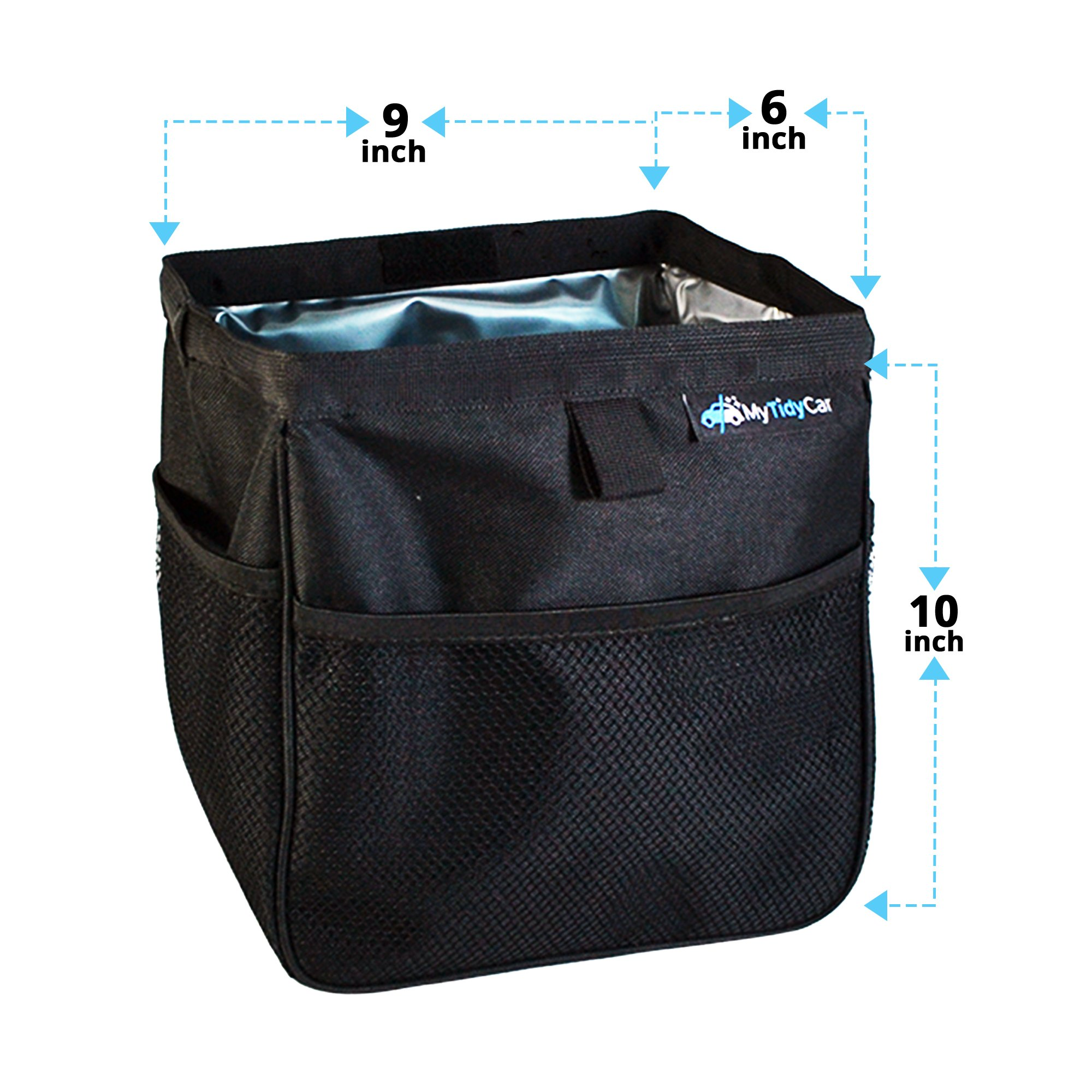 MyTidyCar Car Trash Can - Premium with Pockets & Waterproof Litter Garbage Bag - Large by MyTidyCar (Image #4)