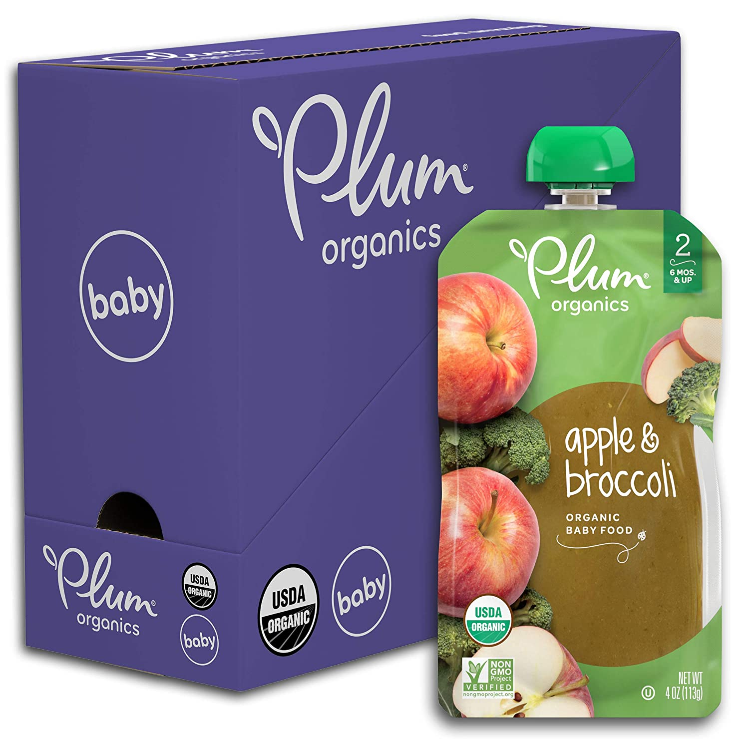 Plum Organics Stage 2 Organic Baby Food, Apple & Broccoli, 4 Ounce Pouch (Pack of 6)
