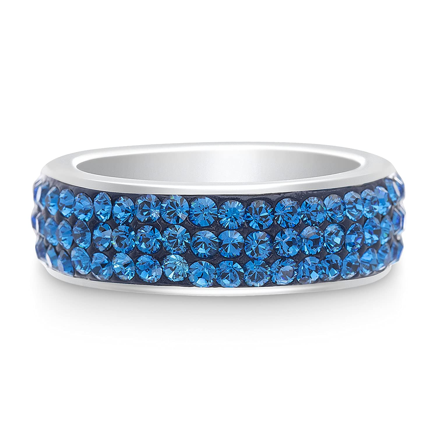 4358c9352 Amazon.com: Devin Rose Triple Row Band Ring for Women Made with Capri Blue Swarovski  Crystal in Rhodium Plated Brass (Size 7): Jewelry