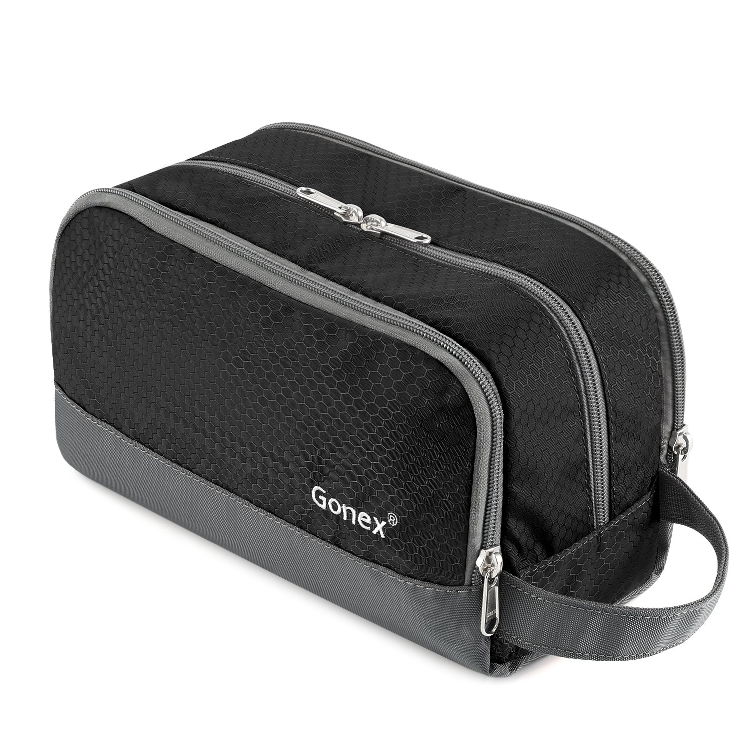 Travel Toiletry Bag Nylon, Gonex Dopp Kit Shaving Bag Toiletry Organizer Black by Gonex