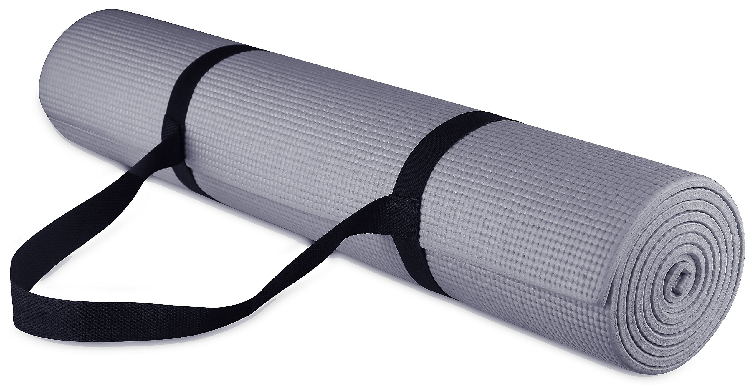 BalanceFrom GoYoga All Purpose High Density Non-Slip Exercise Yoga Mat with Carrying Strap, 1/4'', Grey