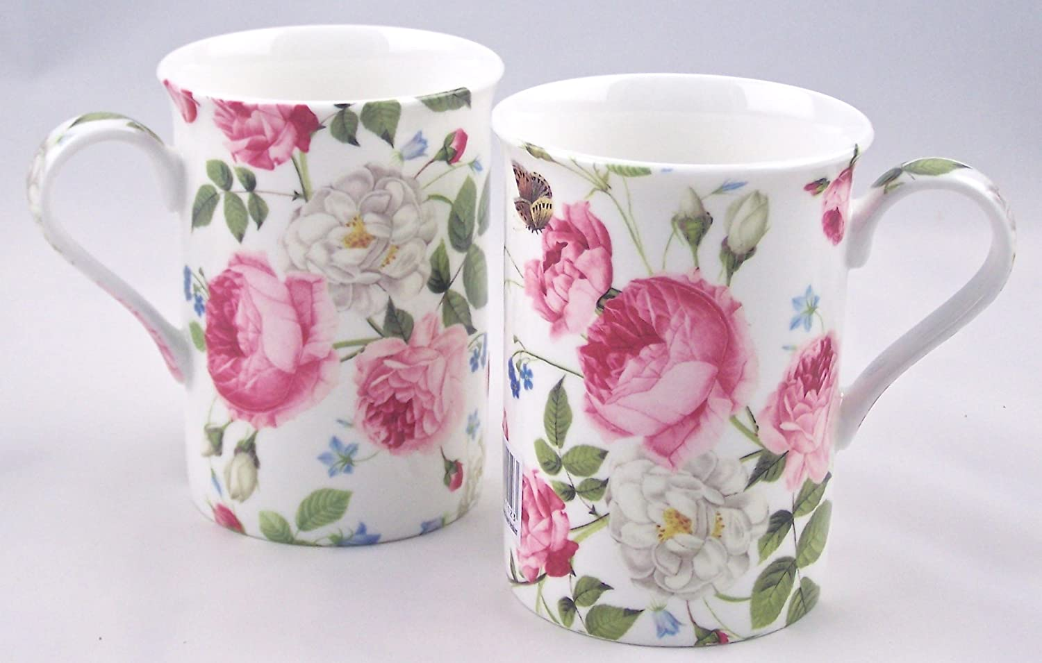 Amazon Com Pair Fine English Bone China Coffee Mugs Cottage Rose Chintz Kitchen Dining