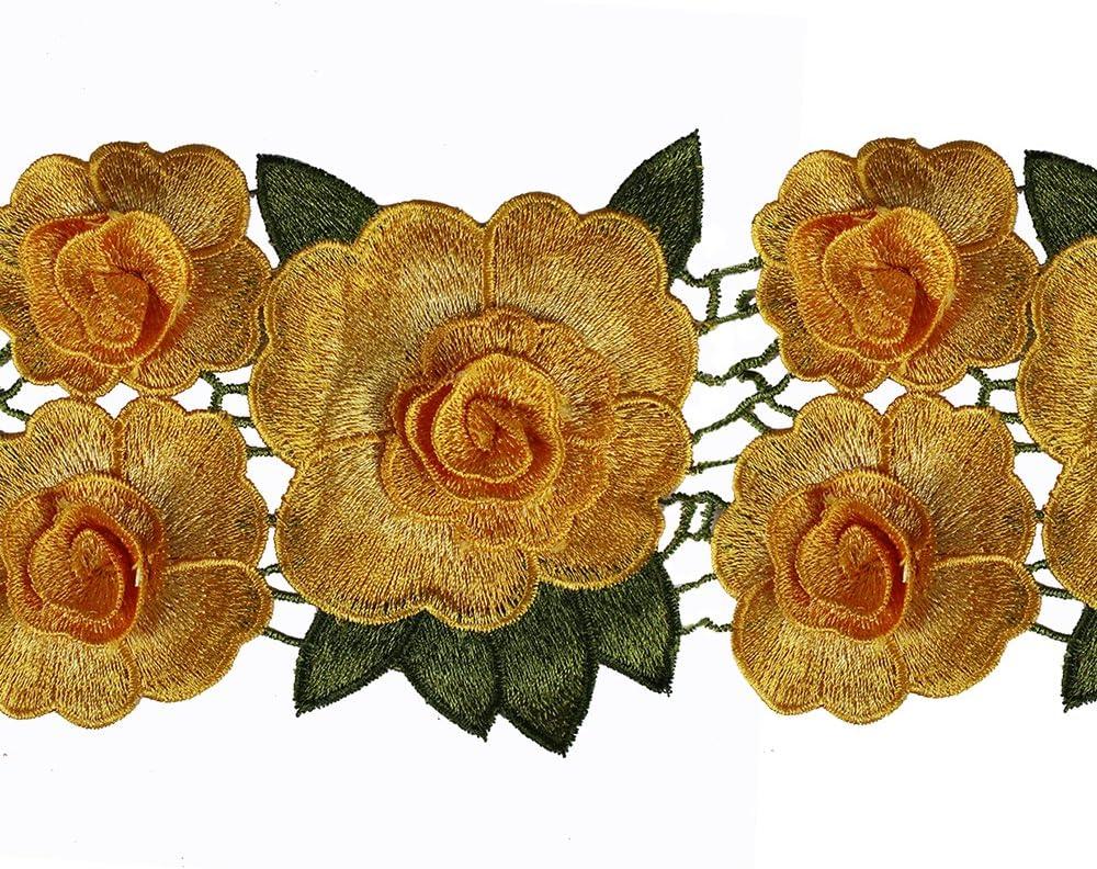 0,9/m 3D fiore ricamo pizzo Trim tessuto Patches applique nastro abbellimento vestiti decorato Sewing supplies YELLOW