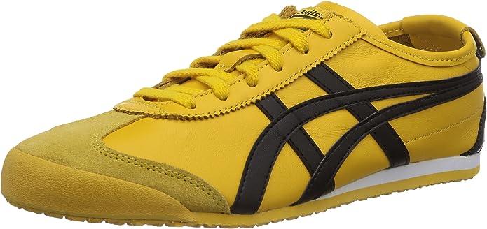 Onitsuka Tiger Mexico 66 Sneakers Unisex Erwachsene Gelb mit Schwarzen Streifen