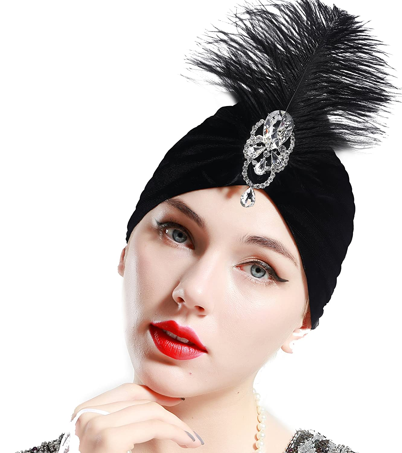 ArtiDeco Ruffle Turban Hat for Women Feather Turban Hat with Detachable Crystal Brooch Headwraps Knit Pleated Turban Hat Vintage
