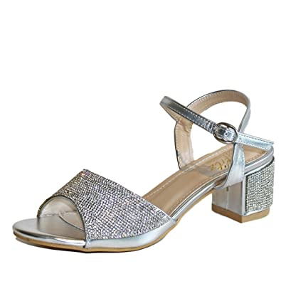 0dea89b6036 Rock on Styles New Ladies Silver Party Prom Bridal Sparkly Diamante Ankle  Straps T Bar Low