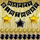 بالونات سوداء وذهبية ورقية للوازم الحفلات لتزيين اعياد الميلاد مع ستارة بلون الشمبانيا المعدنية المزينة والموصلة باشرطة…