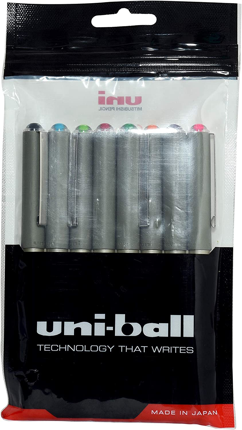 Pack of 8 one of Each Colour 0.7mm Ball uniball UB-157 Roller Ball pens