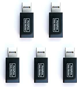 PortaPow 3rd Gen USB Data Blocker (Black 5 Pack) - Protect Against Juice Jacking