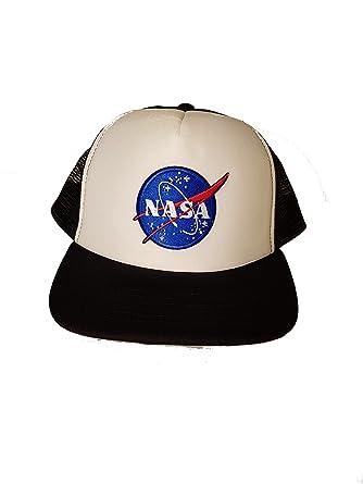 3e7441b9 NASA Meatball Embroidered Patch Men's Vintage Style Trucker Snapback Cap  (EMB) (Black)