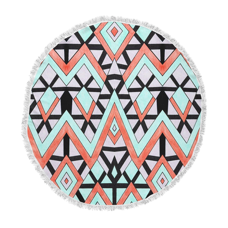 Kess InHouse Pom Graphic Design Geometric Mountains Orange Teal Round Beach Towel Blanket