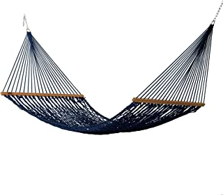 product image for Hatteras Hammocks DC-13NV Large Navy Duracord Rope Hammock with Free Extension Chains & Tree Hooks, Handcrafted in The USA, Accommodates 2 People, 450 LB Weight Capacity, 13 ft. x 55 in.