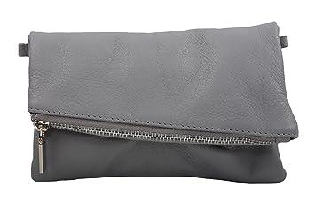 d7aad63680de5 Samira Damen Clutch Abendtasche Handtasche aus echtem Leder Farbauswahl  (Grau)
